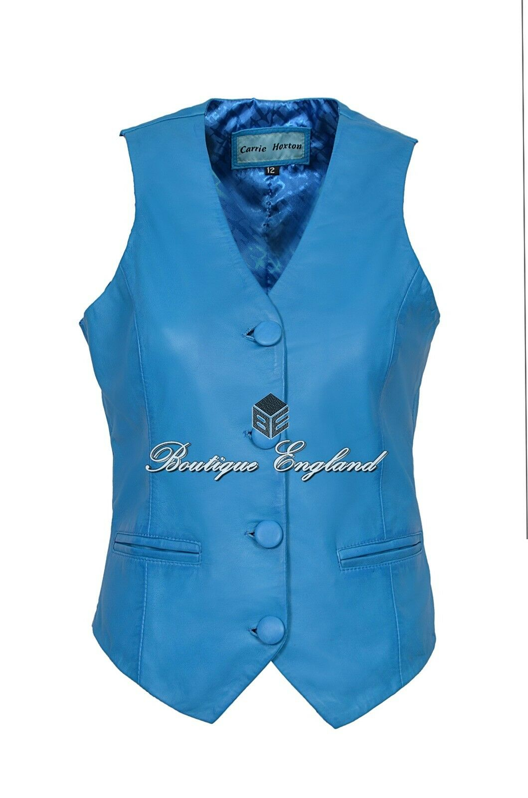 Ladies Waistcoat bluee Leather Casual Party Fashion Vest 1005 SOFT LAMBSKIN