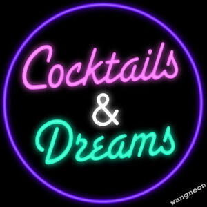 Cocktails-and-Dreams-Neon-Sign-Beer-Bar-Pub-Garage-Light-FAST-FREE-SHIPPING