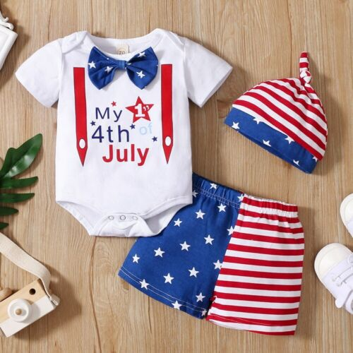 USA My First 4th of July Baby Boy Star Strip Bodysuit Shorts Pant Hat Outfit Set