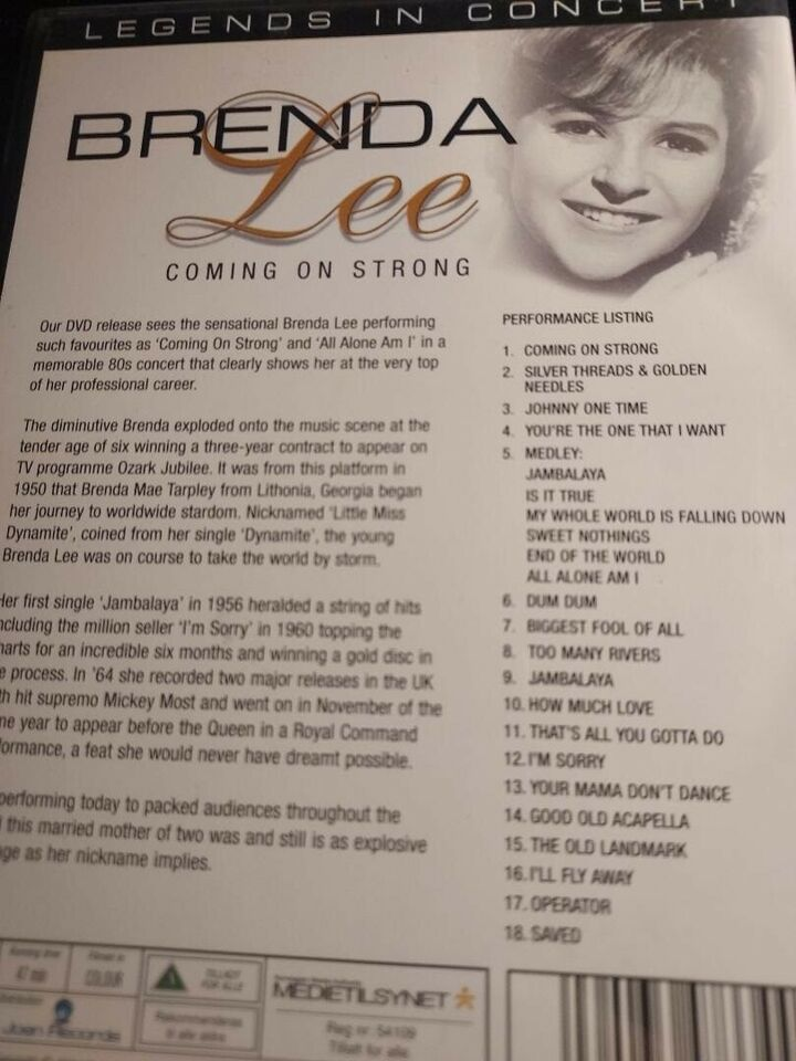 Legends in concert - Brenda Lee, DVD, andet