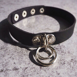 Double-O-Ring-Leather-Collar-Punk-Rock-Classic-Dark-Harajuku-Choker-Necklace
