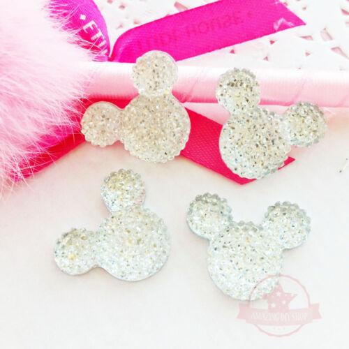 4 pcs Mickey Mouse Crystal Clear Glitter Resin Rhinestone 18mmx23mm Flat back