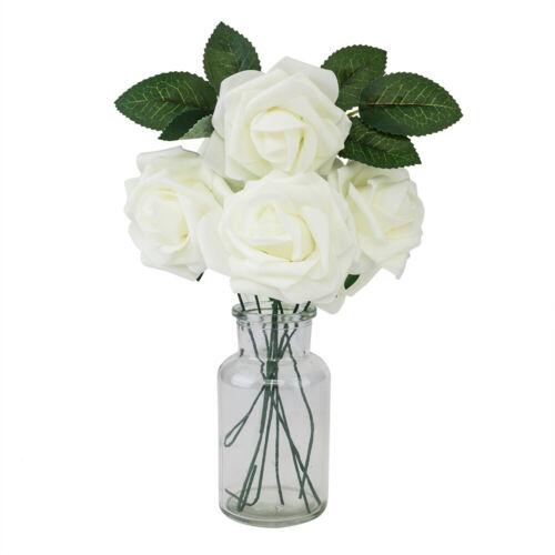 25//50 Heads Foam Rose Flower Bridal Wedding Bouquet Home Office Party Decor