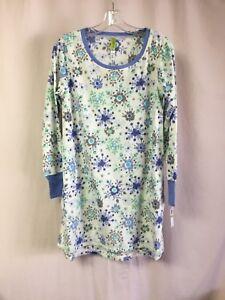 NWT Women's Hue Sleepwear Fleece L/S Gown Size Medium Off White Multi #1271P
