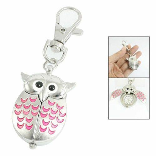 SILVER OWL POCKET FOB WATCH//MINIATURE CLOCK PINK WINGS OPEN TO REVEAL THE TIME!