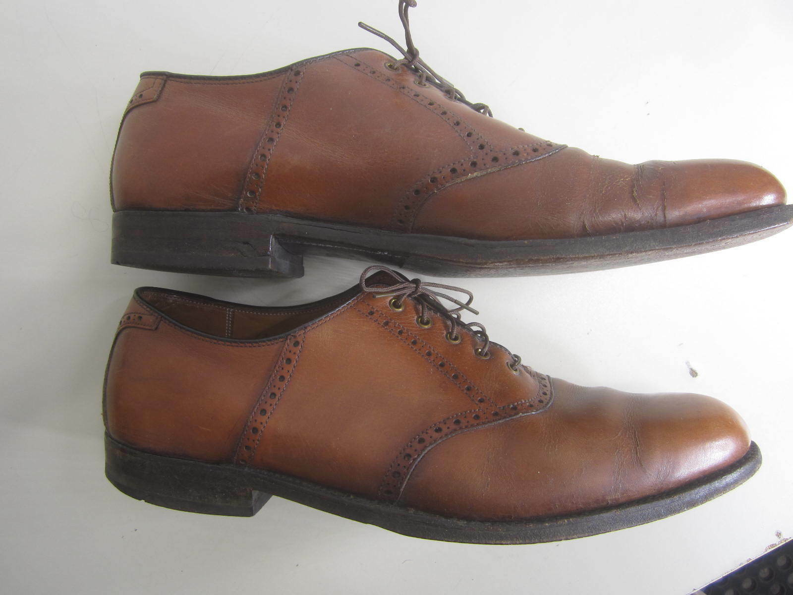 Vtg Alden plain Shoes Brown Leather Oxford plain Alden toe sz 12 A c40420