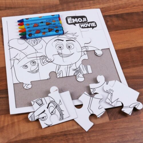 EMOJI MOVIE COLOURING PUZZLE 6 CRAYONS Kids Children Jigsaw 16Pc Colouring Set