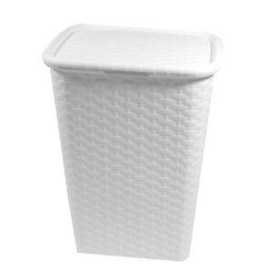 Waschekorb Weiss Waschebox Waschetruhe Rattan Flechtoptik 65 Liter