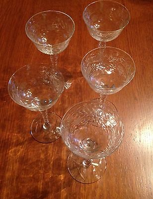 Vtg Antique Crystal Cordial Glasses X 5- Ornate ABP- Early 1900's
