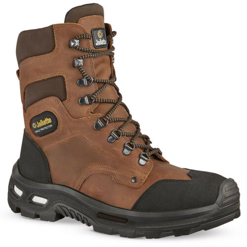 Jallatte Jalbarad ESD High Laced Combat Brown Side Zip Safety Toe Cap Work Boots
