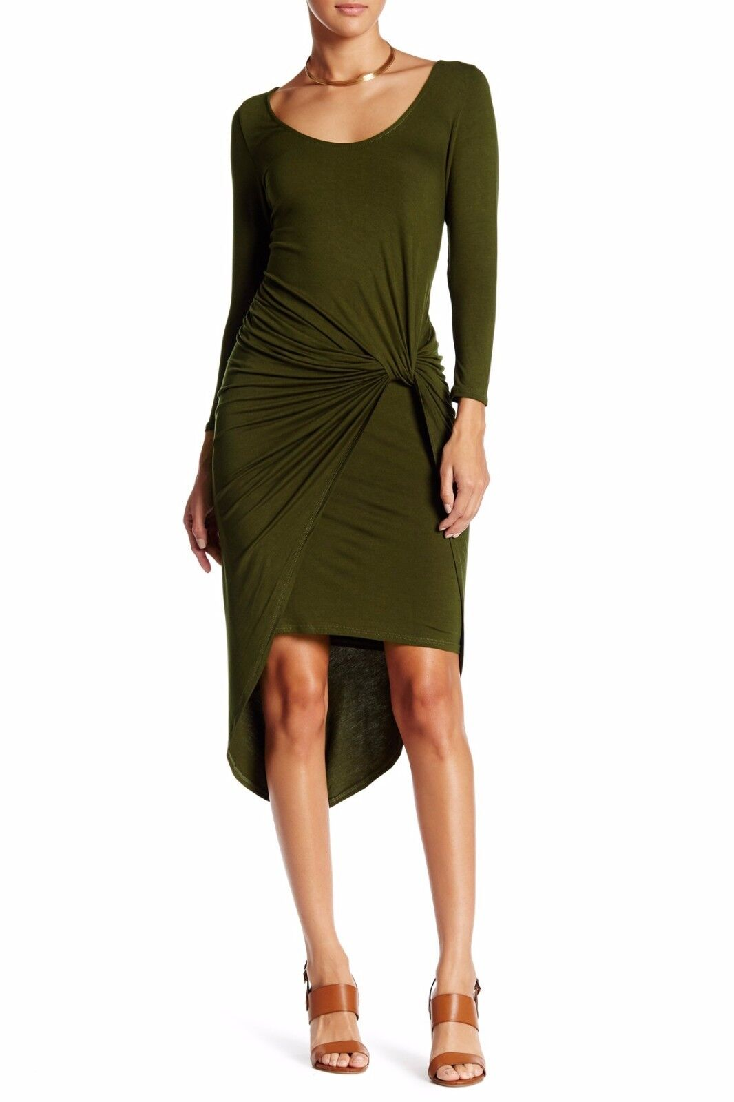 NWOT The Vanity Room 3 4 Sleeve knotted asymmetrical Grün olive Cargo Dress XS