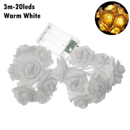 ☆10//20 Bulbs AA Battery Christmas LED Flower USB Rose String Lights Fairy Lamp☆