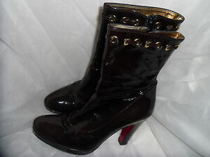 Women's Vgc Brown Leather Size Boot Up Patent 5 Eu Ankle 38 Albano Uk Zip CZfaqfx