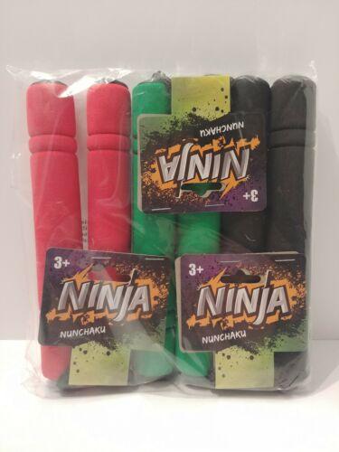 L1 3pc Ninja Toy Nunchucks NunChaku Foam /& Plastic kids training Red Black Green