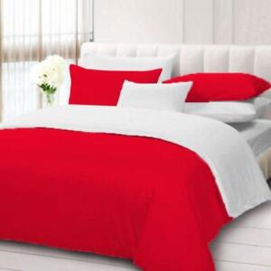Reversible-Duvet-Collection-US-Size-1000-TC-Egyptian-Cotton-Red-amp-White