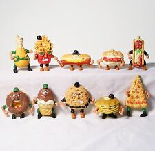 Lot of 10 Vtg Mattel Food Fighters, 1980s - Hamburger, Taco, Fries, Ice Cream
