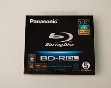 5 Panasonic Blu-Ray BD-R DL 50GB Hard Coat Inkjet Printable in Slim Jewel Cases