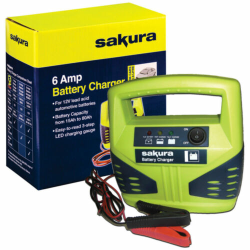 12 Volt 6 Amp Heavy Duty Car Van Bike Battery Charger up to 1.8L LED Compact