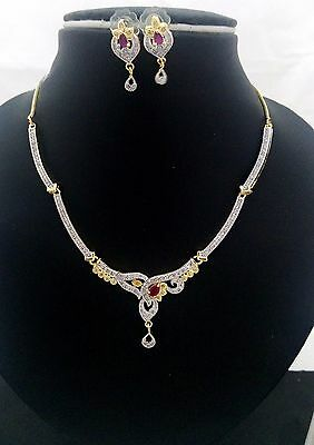 Bollywood Fashion Jewelry Pink Ruby Necklace Set CZ AD Stone Gold Silver Plated