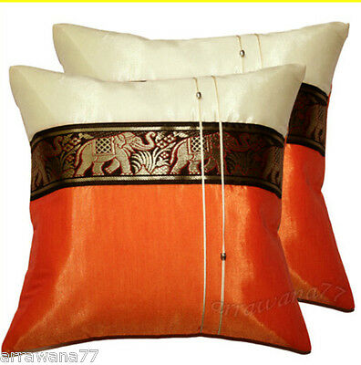 2 Thai Silk Elephant Decorative Pillow Cover Cushion Cases Sofa Orange & Ivory