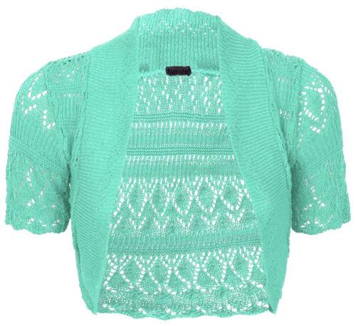 New Womens Crochet Knitted Short Sleeve Ladies Bolero Shrug Cardigan Crop Top