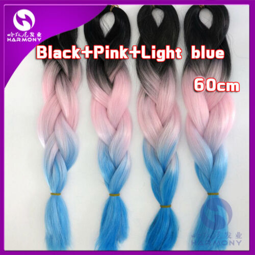 "3 Colors Silk Jumbo Braiding Synthetic Hair Extension Twist Braids 24/"" 100g"