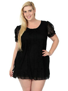 Details About Short Sleeve Lace Dress One Piece Dress In Loose Fit W Chiffon Trim Plus