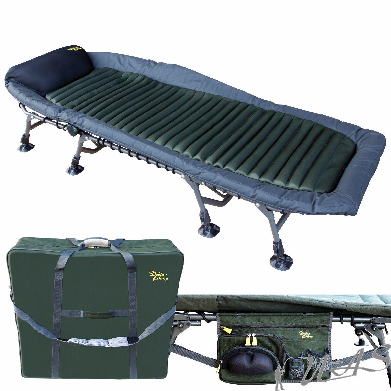 DELTA Fishing XL LUSSO 8 gamba Carpa Lettino & borsa da trasporto & tasca laterale SHA