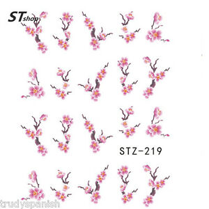 Nail-Art-Water-Decals-Decoration-Pink-Oriental-Japanese-Flowers-Gel-Polish-219