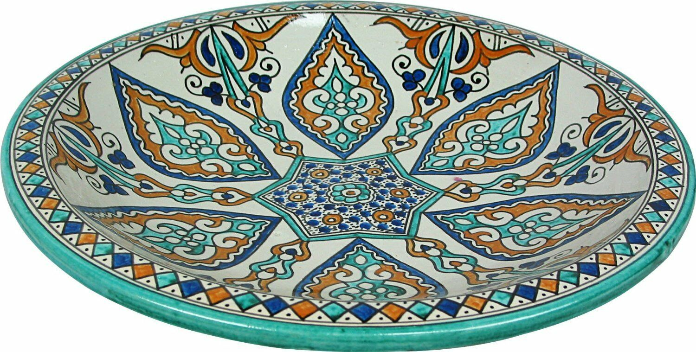Grand Almira Peint à La Main Marocain Céramique Plaque Plateau de Fès, DI 40 H 10