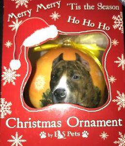 Blue Pit Bull Christmas Snowflake Dog Ornament Shatter Proof Ball