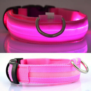 USB-Rechargable-LED-Dog-Pet-Collar-Flashing-Luminous-Safety-Light-Up-Nylon-Pink