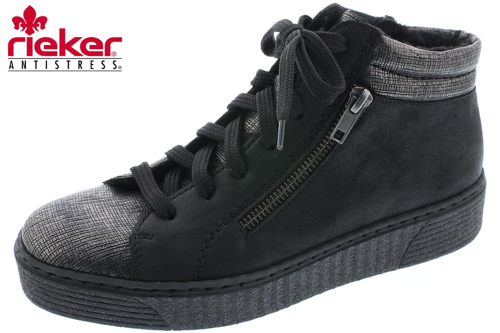 Rieker Damen Hohe Sneaker Schwarz gefüttert Stiefel Leder Optik 51611-45 NEU