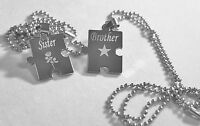 Brother Sister Puzzle Piece X2 Tags, Solid Stainless Steel Ball Chain Necklace