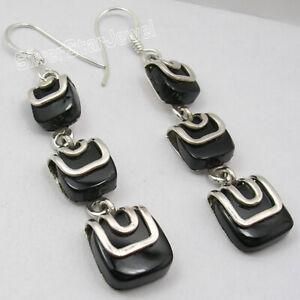 Square-Shape-BLACK-ONYX-Dangle-Women-039-s-Earrings-2-3-8-034-925-Silver-Jewelery