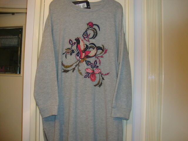 M & S COLLECTION LONGLINE GREY LONG SLEEVE LIGHTWEIGHT JUMPER WITH MOTIF - BNWT