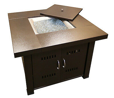 Outdoor Propane Fire Pit Table Patio Heater Grill Glass Fire Place Bronze Finish