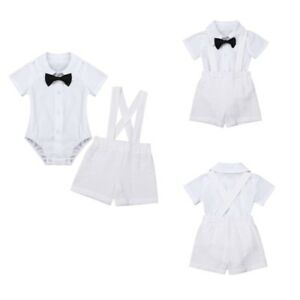 Baby Boys Girls Gentleman Clothes Set,Bow Tie Button Short Sleeve Shirt Romper Suspender Pants Shorts Overalls 2Pcs