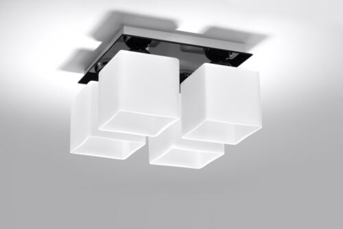 Lamp Modern LIGHT LED ready E27 4x60W Made In Eu HOME OFFICE Ceiling SQUARE 4