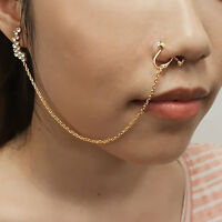 Septum Nose To Ear Chain / Non-pierced Nose Ring & Pierced Earring Pe1073