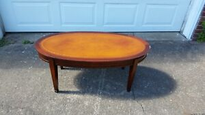 Antique Vintage Leather Top Coffee Table Ebay
