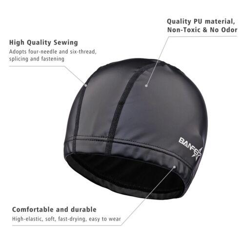 Women/'s Long Hair Ear Protection Comfortable Swimming Cap Pool Hat Black//Sliver