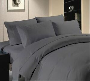 Duvet Set Fitted Sheet Super King Size Dark Gray Solid 1000 Tc