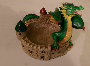 "#192 GREEN DRAGON & CASTLE Ashtray / Coin / Drink Holder 4"" Tall x 5"" Round"