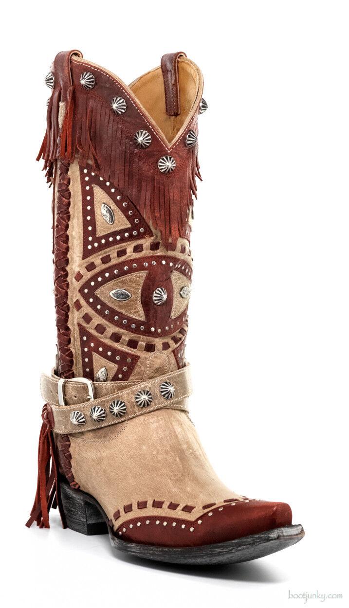 presa L2249-3-SS OLD GRINGO GRINGO GRINGO BUHO BONE   rosso LEATHER FRINGE COWGIRL stivali  risparmia il 60% di sconto