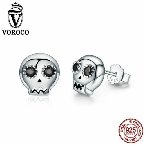 Voroco Authentique S925 Sterling Silver Ear Stud Crâne Boucles d/'oreilles avec cristal noir