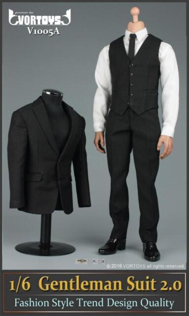 VORTOYS 1/6 Scale Black Gentleman Suit 2.0 V1005A Fit 12