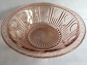 ART-DECO-PEACH-PRESSED-GLASS-FRUIT-SALAD-TRIFLE-BOWL-8-5-034-WIDE-2-5-034-HIGH