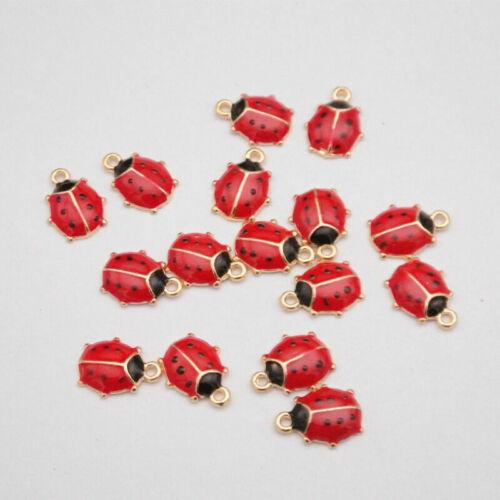 Ladybird Ladybug Pendant Enamel Charm For DIY Earrings//Bracelet Jewelry Making