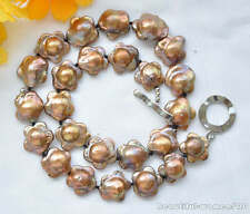 "z5185 17"" 18mm plum blossom coffee KESHI REBORN PEARL NECKLACE"